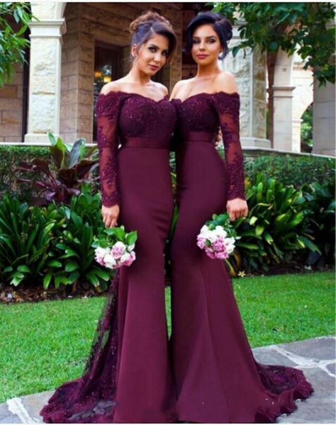 top popular 2021 Burgundy Long Sleeves Mermaid Bridesmaid Dresses Lace Appliques Off the Shoulder Maid of Honor Gowns Custom Made Formal Evening Dresses 2021