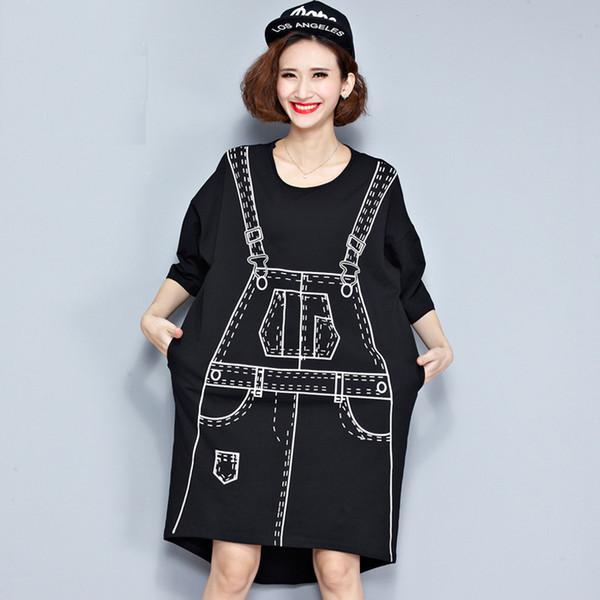 Plus Size Autumn Dress 3D Pattern Print T-Shirt Cotton Female Hlaf T Shirt Fashion Big Size Kawaii Punk Black Loose New Tops
