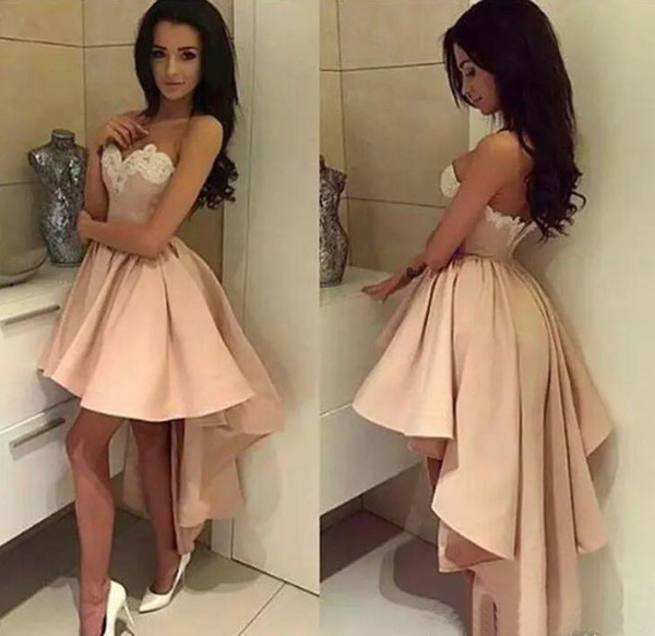 Modest 2017 Peach Pink Short High Low Prom Dresses Cheap Ivory Lace Sweetheart Ruched Holiday Party Gowns Custom Made China EN10136