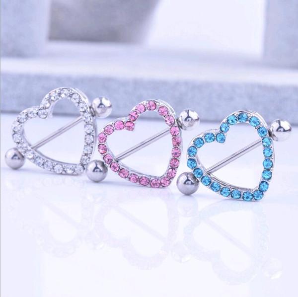 Nipple Shield Rings Barbells Love Heart Medical Acero inoxidable CZ Diamond Rhinestone Nipple Body Piercing Jewelry Pink Blue White