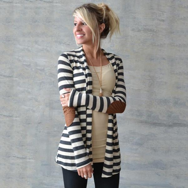 Maglioni lavorati a maglia all'ingrosso Plus Size 2016 Moda donna manica lunga Casual cappotto a righe Cardigan Primavera Capispalla Scialle Maglieria Blusas