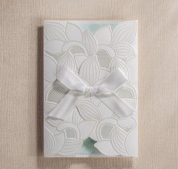 Hot selling Ivory Wedding Invitations cards Personalized White Wedding Invitation Cards with newest designs DHL free shipping in low price