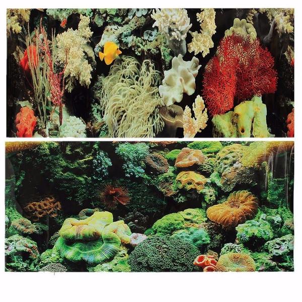 Double PVC Sided Acquario Paesaggio Fish Tank Poster Sfondo Vivarium Decor Vari modelli