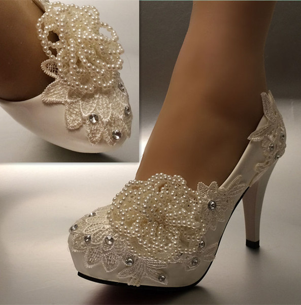 Free Shipping New Fashion white ivory pearl lace crystal Wedding shoes Bridal heels pumps size 5-11