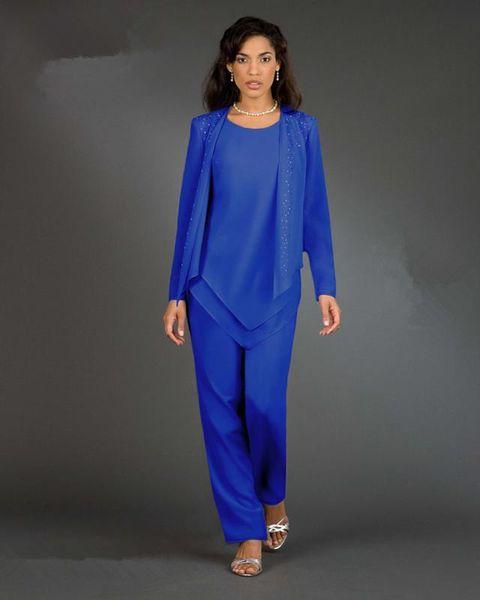 New Designer 3 pezzi / set Royal Blue Chiffon Madre della sposa Pantalone Abiti maniche lunghe Abiti da festa da donna Lady Plus Size Abiti da sera