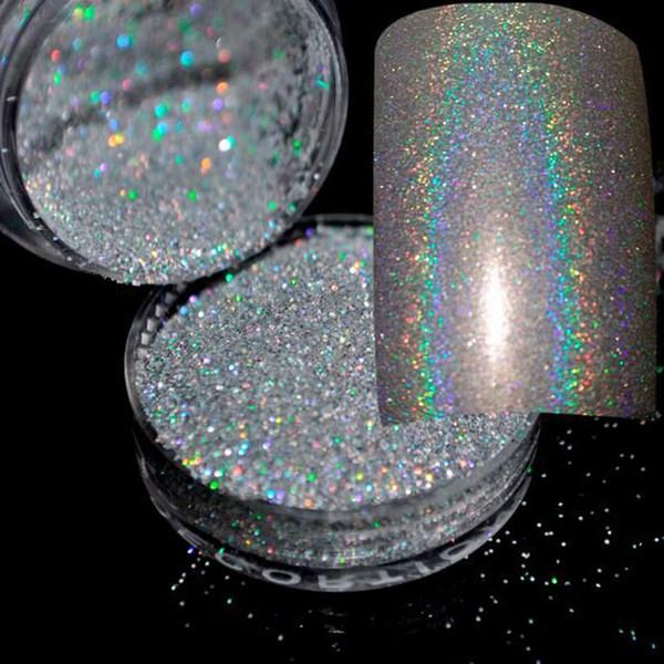 All'ingrosso- 4 g / scatola Brillante argento Glitter Polvere Pigmen Nail Glitter Paillettes Glitter Polvere Polvere Nail Art Polvere Fata Polvere Trucco Strumento Manicure