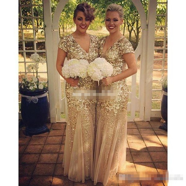 Sparkly Gold Sequin Long Bridesmaid Dresses Mermaid V Neck with Short Sleeve 2016 Vintage Formal Evening Gowns Plus Size Maid of Honor Dress