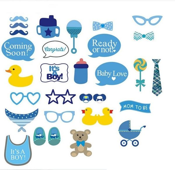 new Baby Shower birthday Photo Booth Photobooth Props On A Stick It's a Boy 1st Birthday DIY Kits Fun Party Decoration Centerpieces H308