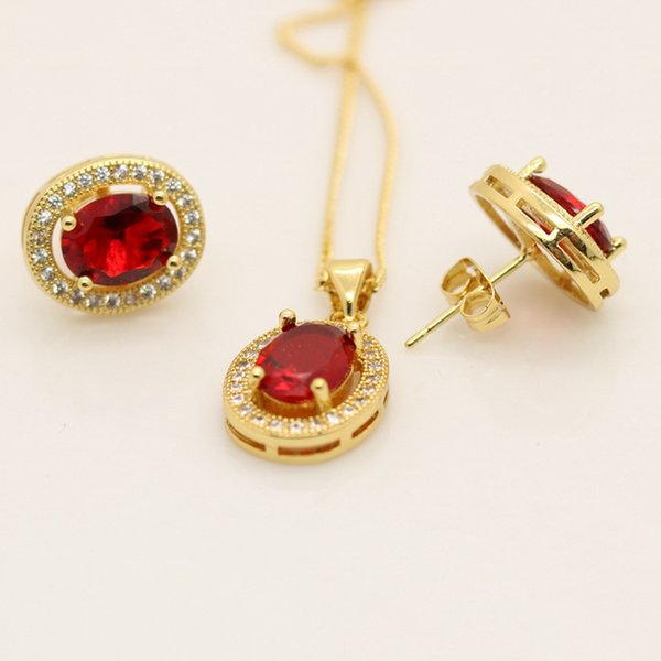 Womens Pendant+Earrings 18k Yellow Gold Filled Ruby Jewelry Set Wedding Accessories Beautiful Gift Inlaid Red Crystal