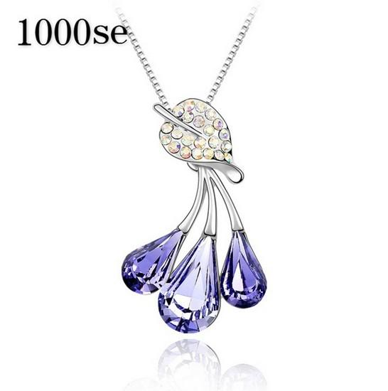 2017 new A genuine using SWAROVSKI Elements Crystal Necklace - Colorful Leaf Pendant Ms. Yiwu commodity sale