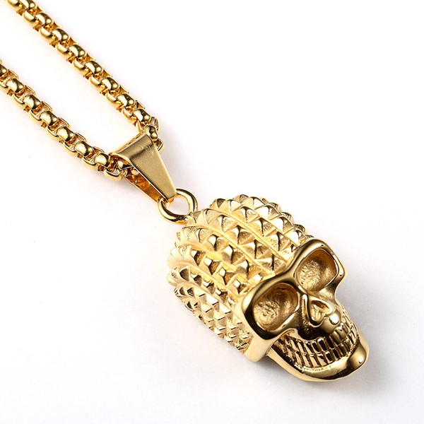 pendant necklace trendy cool skull fashion skeleton necklaces mens titanium steel 70cm statement gold chain hip hop jewelry, Silver
