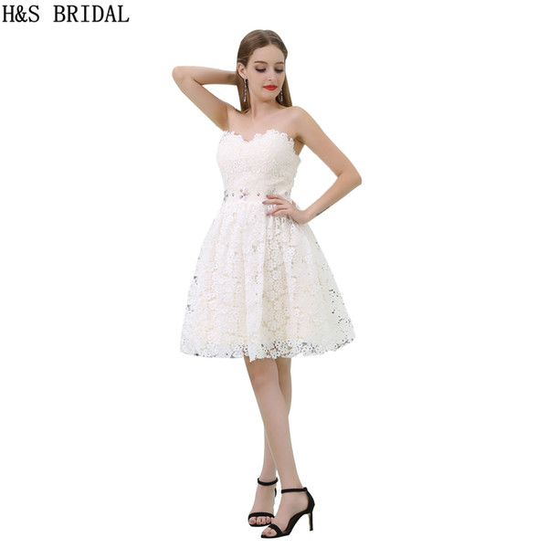 2017 Fashion Short Graduation Dresses Girls Lace Cream Color Sweetheart Party Prom Dresses Shinny Beaded Gown B033