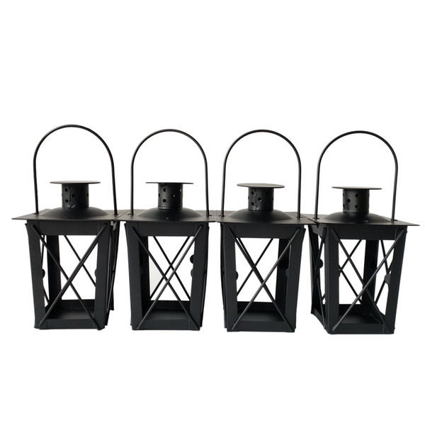 Cheap Black color classic style Tea Light Holder Metal candle holder Small Iron lantern candlestick holders gift Wedding decoration