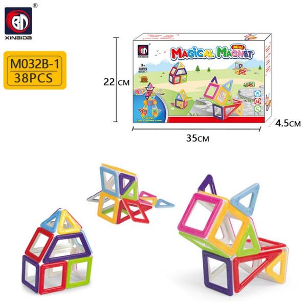 M032B 38pcs Magnetic Blocks Building Puzzle Rainbow colors Magnet Block Toys for kids Vehicle set Creater Carnival Set Christmas Gift