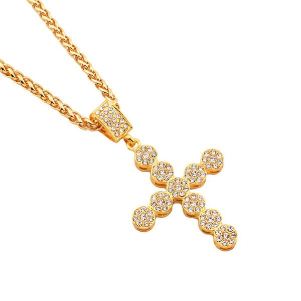 Мужчины круглый крест кулон ожерелья полный горный хрусталь 29.5 дюймов длинная цепь рок микро хип-хоп ювелирные изделия Ожерелье для мужчин женщин
