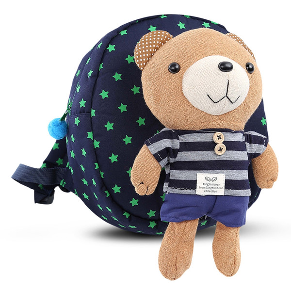 Detachable Lovely Bear Canvas Cotton Fabric Dot Animal Prints Character Anti-lost Strap Children and Unisex Zipper Backpack