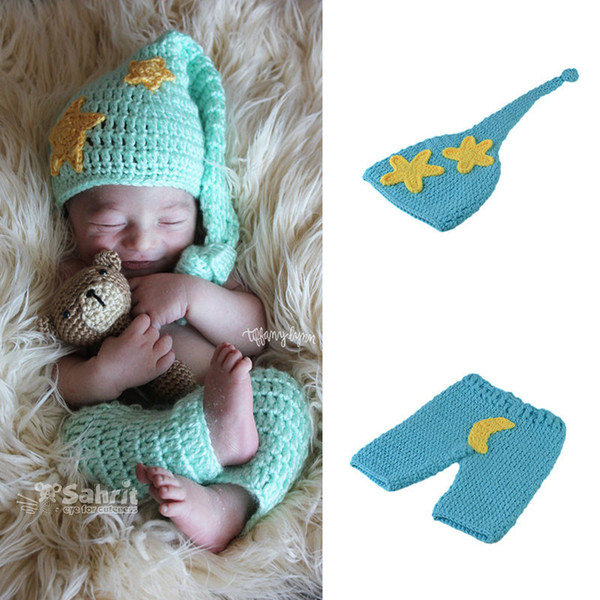 Newborn Boys Star Moon Outfits Baby Boy Clothes Knitted Hat Set Infant Photo Props Baby Photography Props Crochet BP060