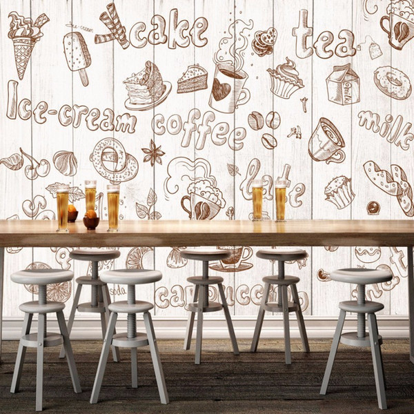 Free Shipping Hand Painted Graffiti Art Bakery 3D Stereo Western Style Restaurant Living Room Bedroom Mural
