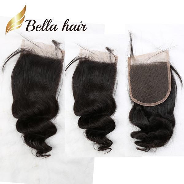 10A Extensiones de Cabello Humano Peruano de Color Natural 4 * 4 5 * 5 6 * 6 Medio Libre Parte Tres Loose Wave Top Closure Hair Pieces Bella pelo