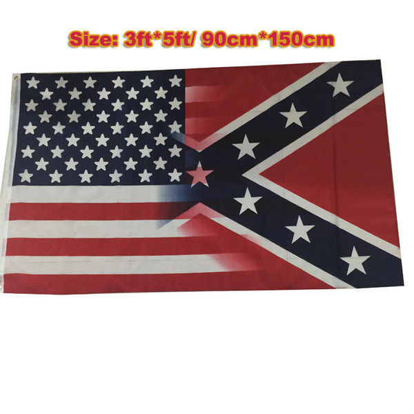2017 NEW 90*150cm American Flag with Confederate Rebel Civil War Flag new style hot sell 3x5 Foot Flag