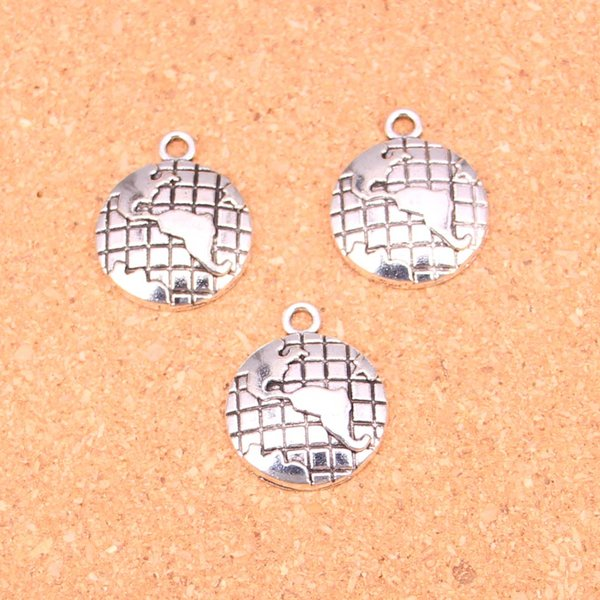 Wholesale 50pcs Fashion Antique silver earth globe charms metal pendants for diy jewelry findings 24*20mm