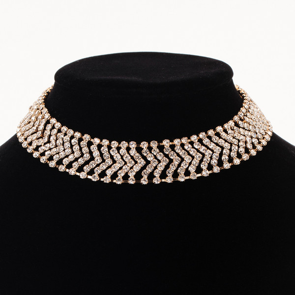 Accessories wholesale Top Quality Classic Crystal Wedding Necklace Rose Gold Color Fashion Jewellery The bride adorn article