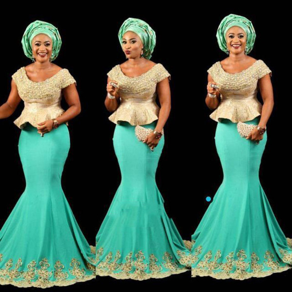 Aso Ebi Style mint African peplum Prom Gown Nigerian Style Lady evening Party Dress With Short Sleeves Formal Party Dress Mermaid Occasion