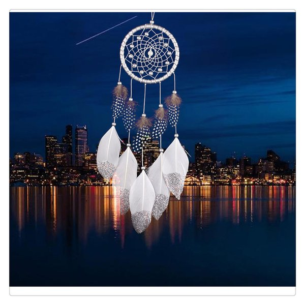 Home Decoration Wind Chime Hanging Handmade Traditional White Feather Dream Catcher Wall Hanging Car Hanging Supplies Ornament Free Shipping