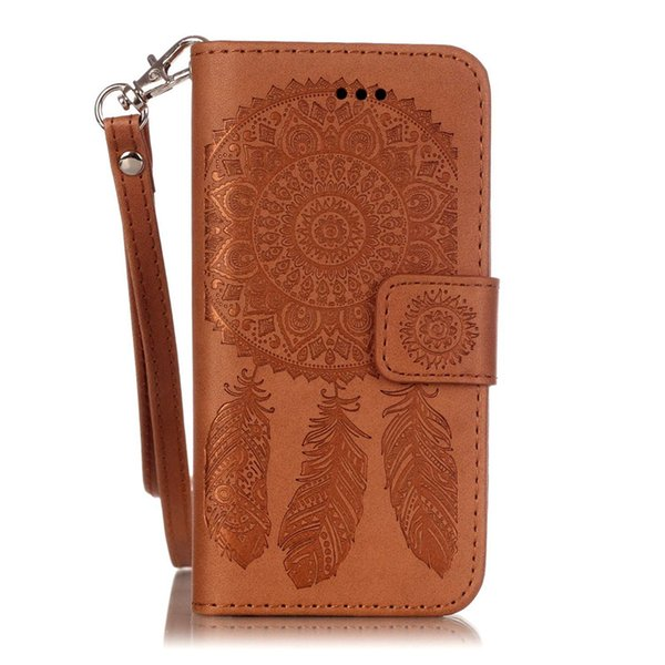 For Apple iPhone 5S 5SE 6S 6Plus 7S 7plus Samsung Galaxy S5 S6 S6Edge S7 S7 Edge Case Dream Catcher PU Leather Wallet Rope Card Slots Cover