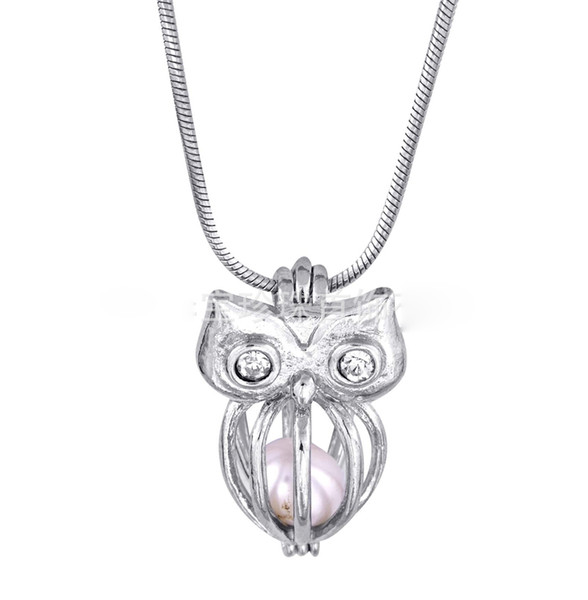 18kgp owl with shiny jewel eyes cages lockets, wish pearl/ gem beads pendants mountings for diy fashion lovely cute jewelry charms