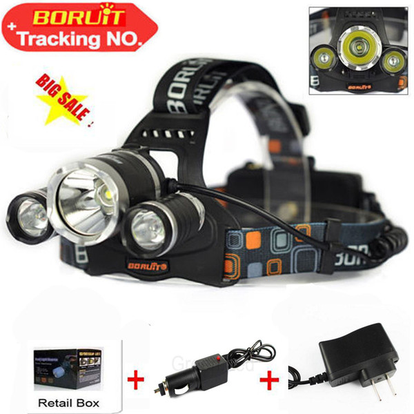 Boruit 5000LM 3 xCREE XML T6 LED Rechargeable Headlight Headlamp 18650 Head Torch Lamp+Lantern linternas for Hunting 2XCharger