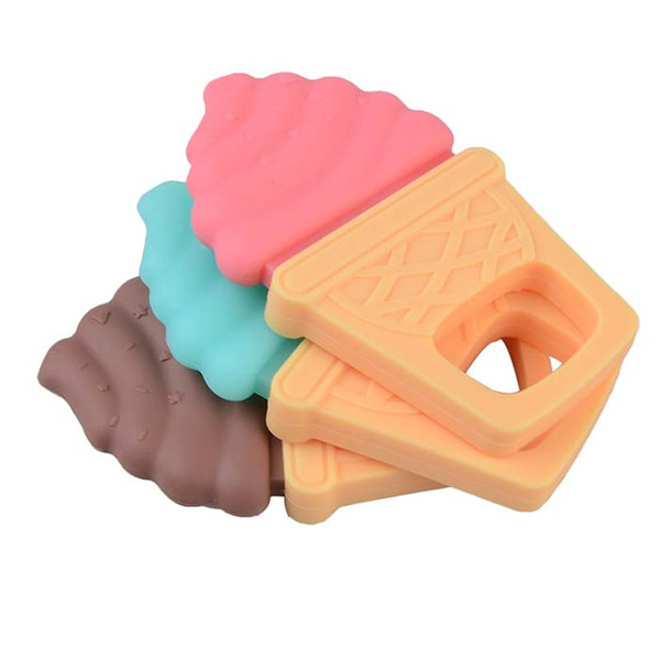 10PCS BPA Free Silicone Ice Cream Teether Pendant Baby Silicone Teething Beads Nursing Jewelry DIY Baby Shower Chewable Toys Gift