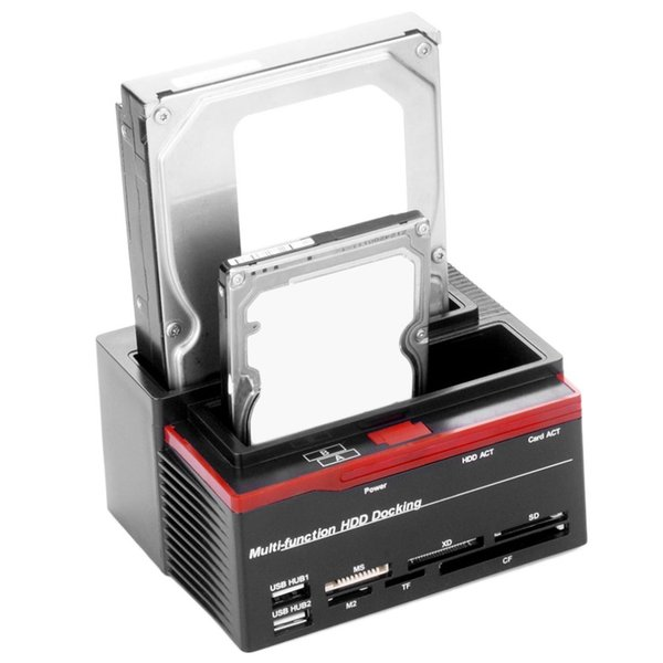 Freeshipping US Plug Professional 2.5 Inch 3.5 Inch SATA IDE HDD Docking Station Base Hard Disk Drive Clone USB HUB Card 892U2IS