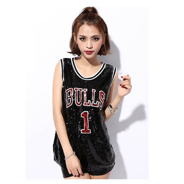 Women Stage Performance Tops Sequined Letter Sexy Girl Hip Hop clothing Sleeveless Female Costumes Loose jazz Dance Long Shirts