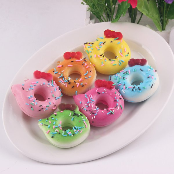 7cm squishies wholesale 24pcs Super squishy jumbo kawaii rare hello kitty donut squishy with tags toy soft hand pillow Chain Phone