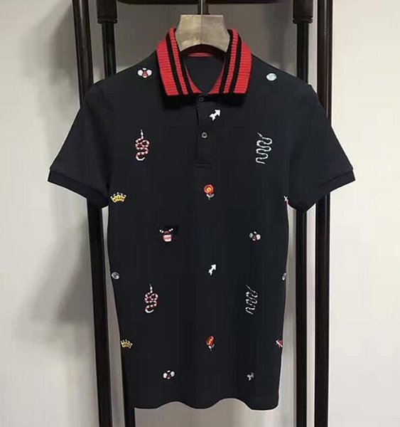 Luxury Fashion Summer Mens Casual Polos Cotton Snake Leopard Flower bee Crown Printed Polo Shirts Turn-Down Collar Men Tops XXXL Black
