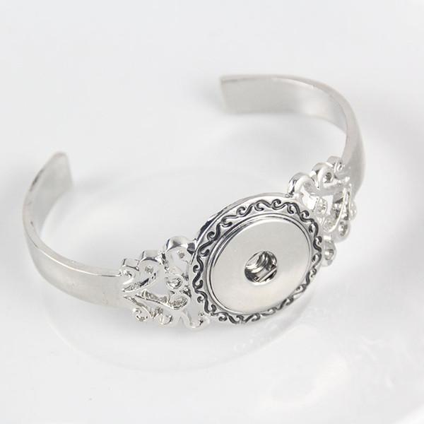 Bracelet Jewelry Snap Bracelet Pulsera Fit 18-20mm Xinnver Snap Button Carve Flower Antique Silver ZE038