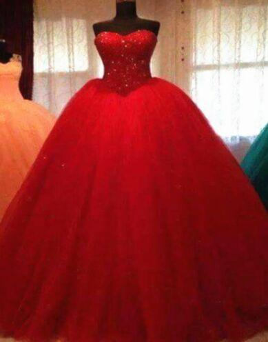 Red Princess Cheap Beach Beading Ball Gown Tulle Plus Size Crystal Wedding Dresses Long Wedding Guest Gowns Maid Of Honor Dress