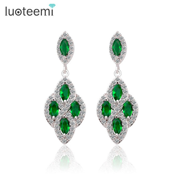 LUOTEEMI Green Zircon Marquise Stone with Tiny CZ Around Dangle Earrings Luxury Drop Earrings for Women Factory Wholesale
