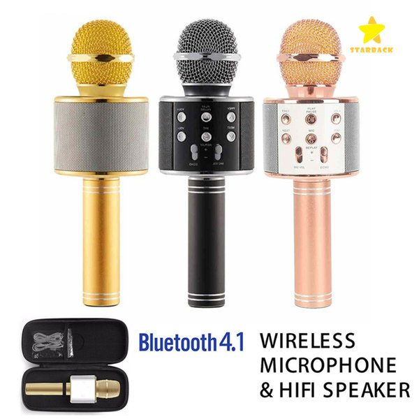 WS-858 Kablosuz Hoparlör Mikrofon Taşınabilir Karaoke Hifi Bluetooth Oyuncu iphone 6 6 s 7 ipad Samsung Tablet PC Paketi ile