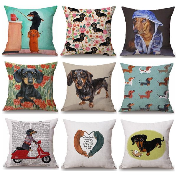 top popular 38 Styles Dachshunds Sausage Dog Cushion Covers Hand Painting Dogs Art Cushion Cover Merry Christmas Decorative Linen Pillow Case 2019