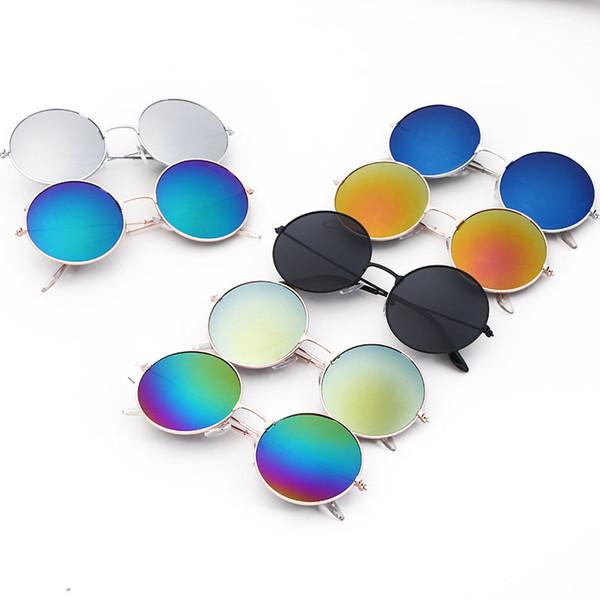 Çocuklar için güneş gözlüğü Vintage Yuvarlak Güneş Gözlükleri Erkek Kız Tasarımcı Moda Çocuk Yaz Plaj Güneş Kremi Aksesuarları
