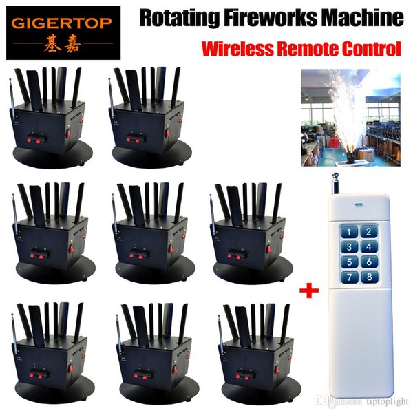 Free Shipping 8pcs/lot+1pcs Wireless Remote Console Rotating Fireworks Machine DMX 512 8Chs Control Cold Fireworks TP-T12B
