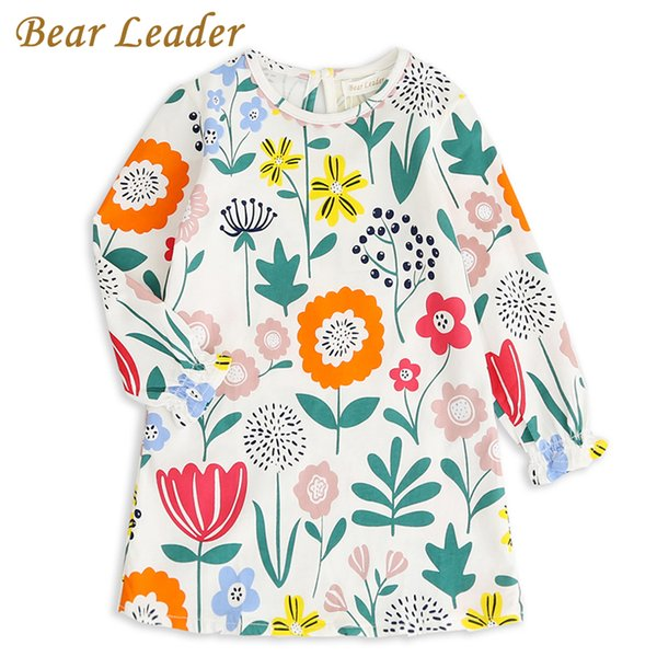 Bear Leader Girls Dress 2017 Brand Autumn Girls Clothes Eruopean and American Style Sunflower Printing Design for Kids Dress