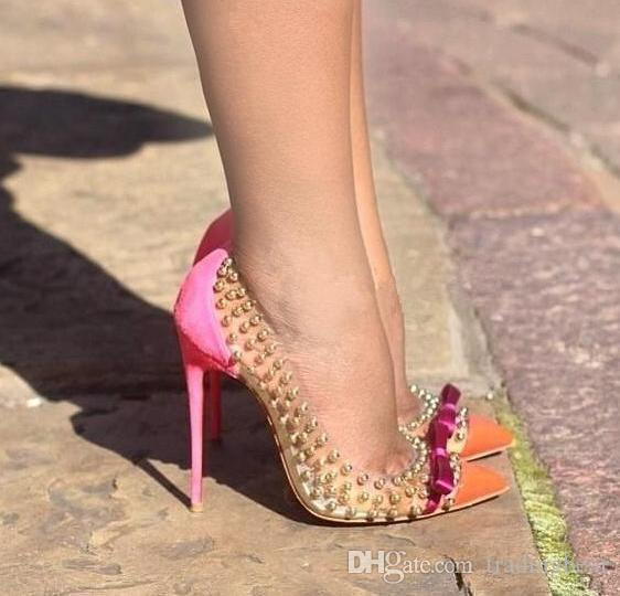 best selling Hot Sale Patchwork Red Bottom High Heels Rivets Studded Shoes Sexy Women Pumps size 35 to 40