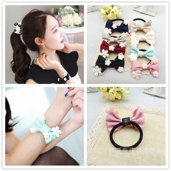 Wholesale 20pcs/lot Korean Style Cute Solid Floral Hair Bow Girls Elastic Hair Bands Fashion Bowknot Rope Gum Rubber Band Hair Accessories