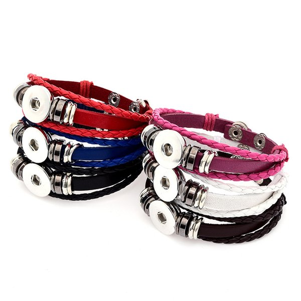 12pcs/lot Mix Colors Pu Leather Wrap Bangle Noosa Chunks Metal Ginger 18mm Snap Buttons Bracelet Bohemia Unisex Jewelry