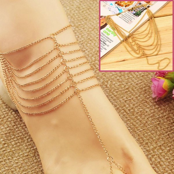 1PC Celebrity Simple Plated Multi Chain Ankle Bracelet Anklet Chain Link Foot Women Barefoot Sandal Beach Ankle Jewelry