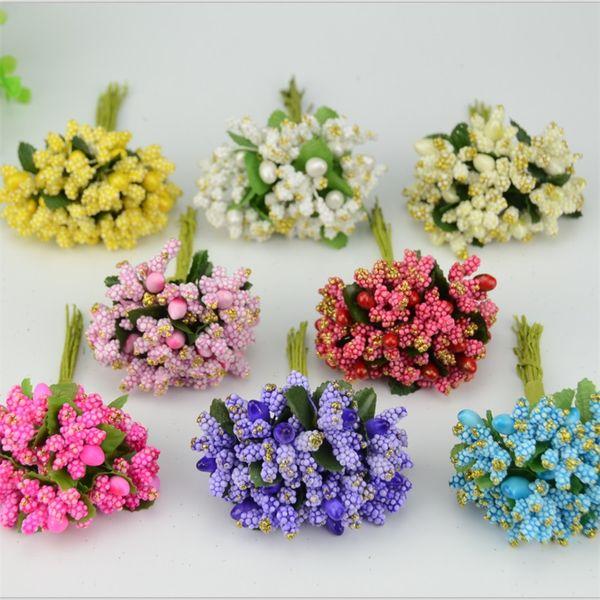 Al por mayor-12PCS / lot Pe Mini Mulberry fiesta flor Artificial estambre tallo de alambre / matrimonio hojas Estambre pequeña caja de la boda decoración suministros