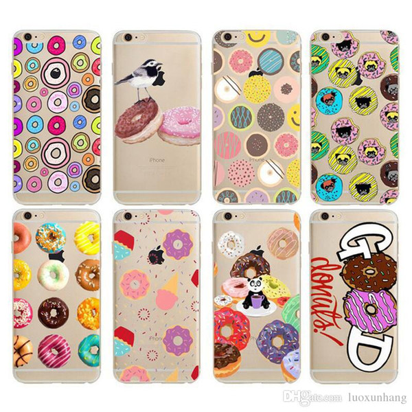 Case For iPhone 6 Plus 6s Plus 5 5S 7 7 Plus Transparent Silicone Phone Cover Cute Rainbow Color Food Cake Donut Macaron